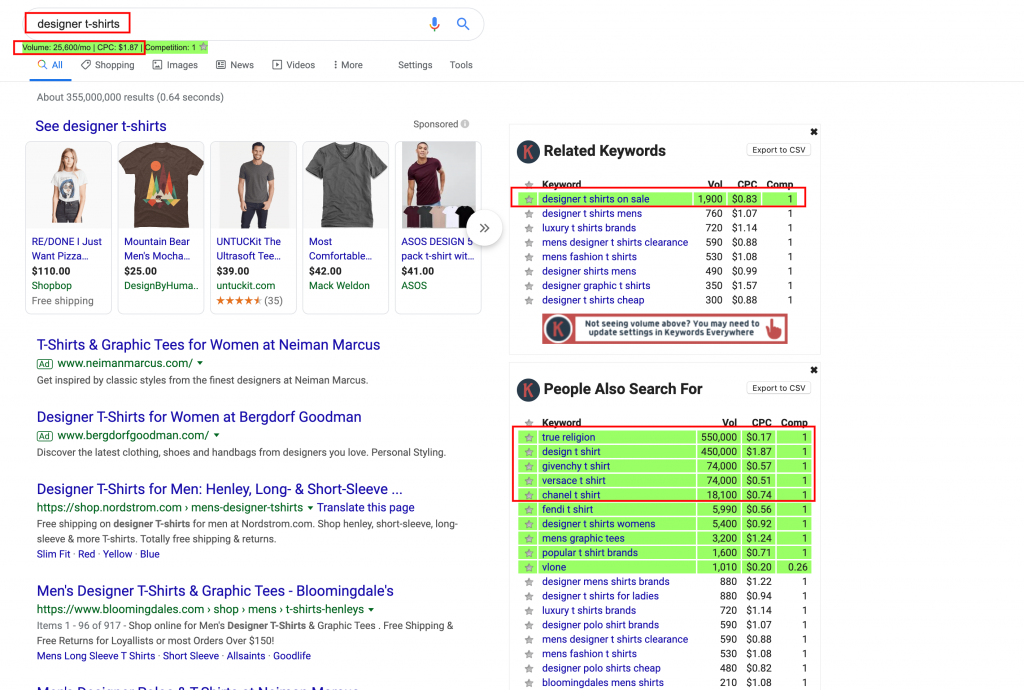 Google Search Example Showing Keywords Everywhere Results